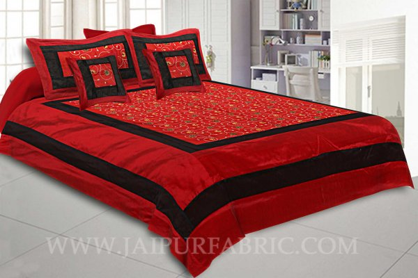Ruby Red Rajwada Silk Double Bedsheet