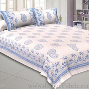 Double Bed Sheet White Base With Kadi Print Blue Rajasthani Buta Hand Block Print Super Fine  Cotton