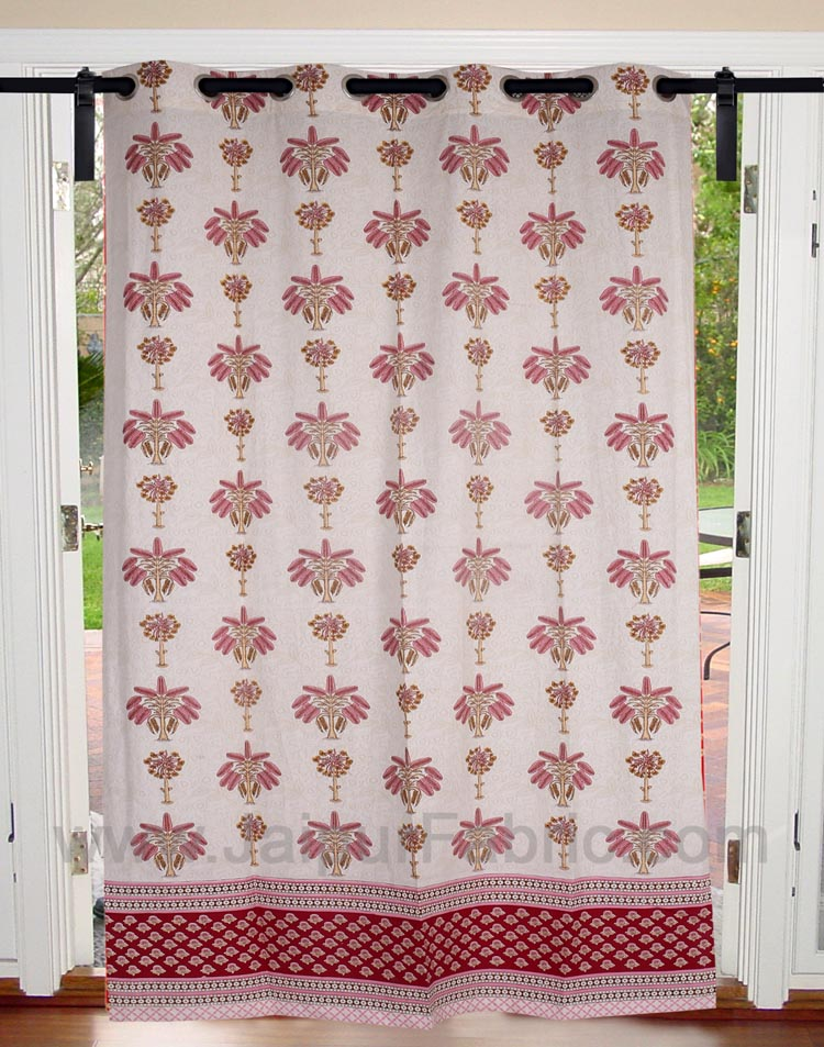 Baby Pink Tree Print Cotton Grommet Curtain