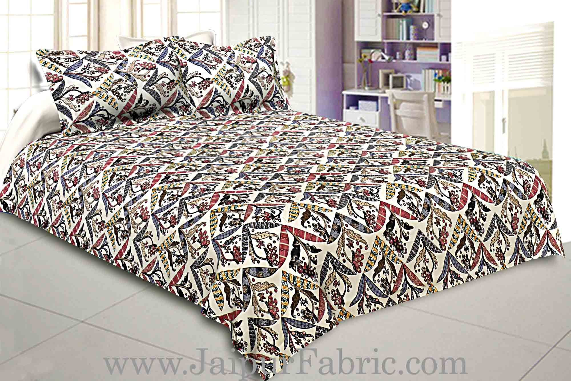 Seamless Geometric Floral Print Twill Cotton Double Bedsheet