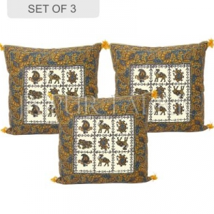 Green Border Block Cotton Cushion Cover