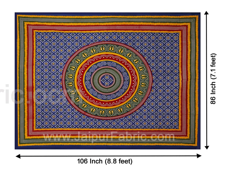 Blue Border Bandhej and Rangoli Print Cotton Double Bed Sheet With Two Pillow Cover