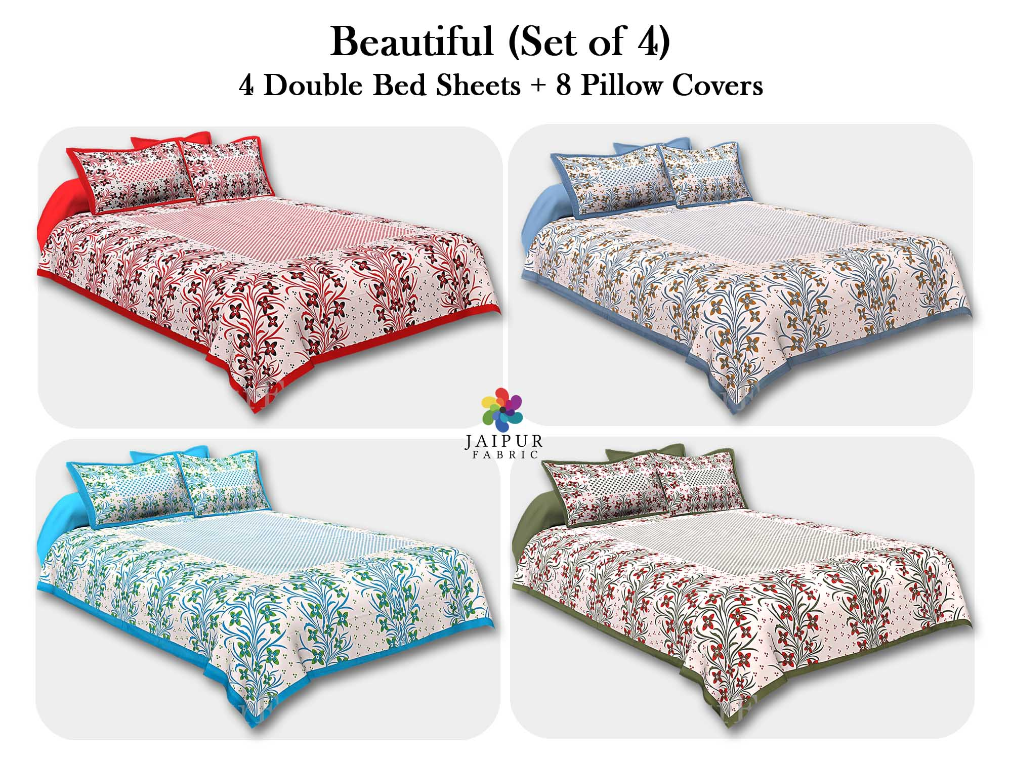 COMBO103 Beautiful Multicolor 4 Bedsheet + 8 Pillow Cover