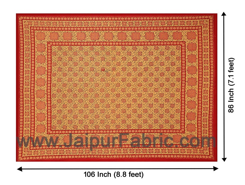 Double Bed Sheet Red Border Hand Block  Bagru Print Cotton Double Bed Sheet