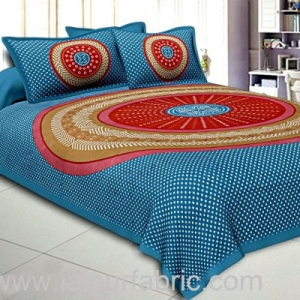 Double Bedsheet Sea Green With Round Shape Bandhej Print