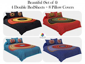 COMBO120 Beautiful Multi color 4 Bedsheets + 8 Pillow Covers