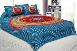 Wholesale Double Bedsheet Sea Green With Round Shape Bandhej Print