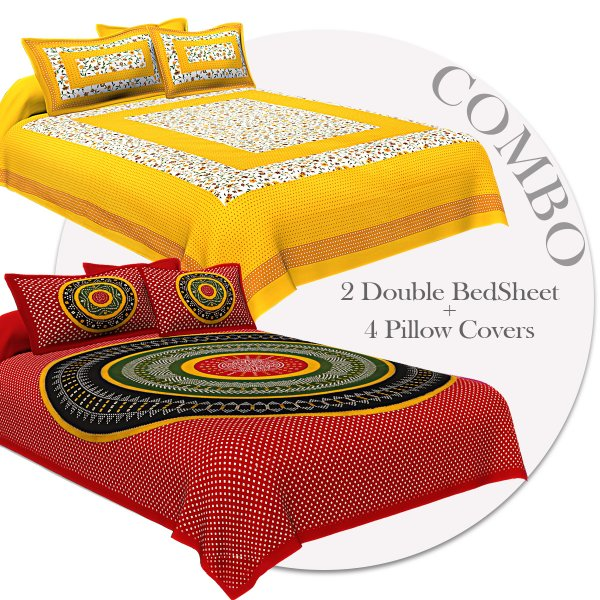 COMBO353 Beautiful Multicolor 2 Bedsheet + 4 Pillow Cover