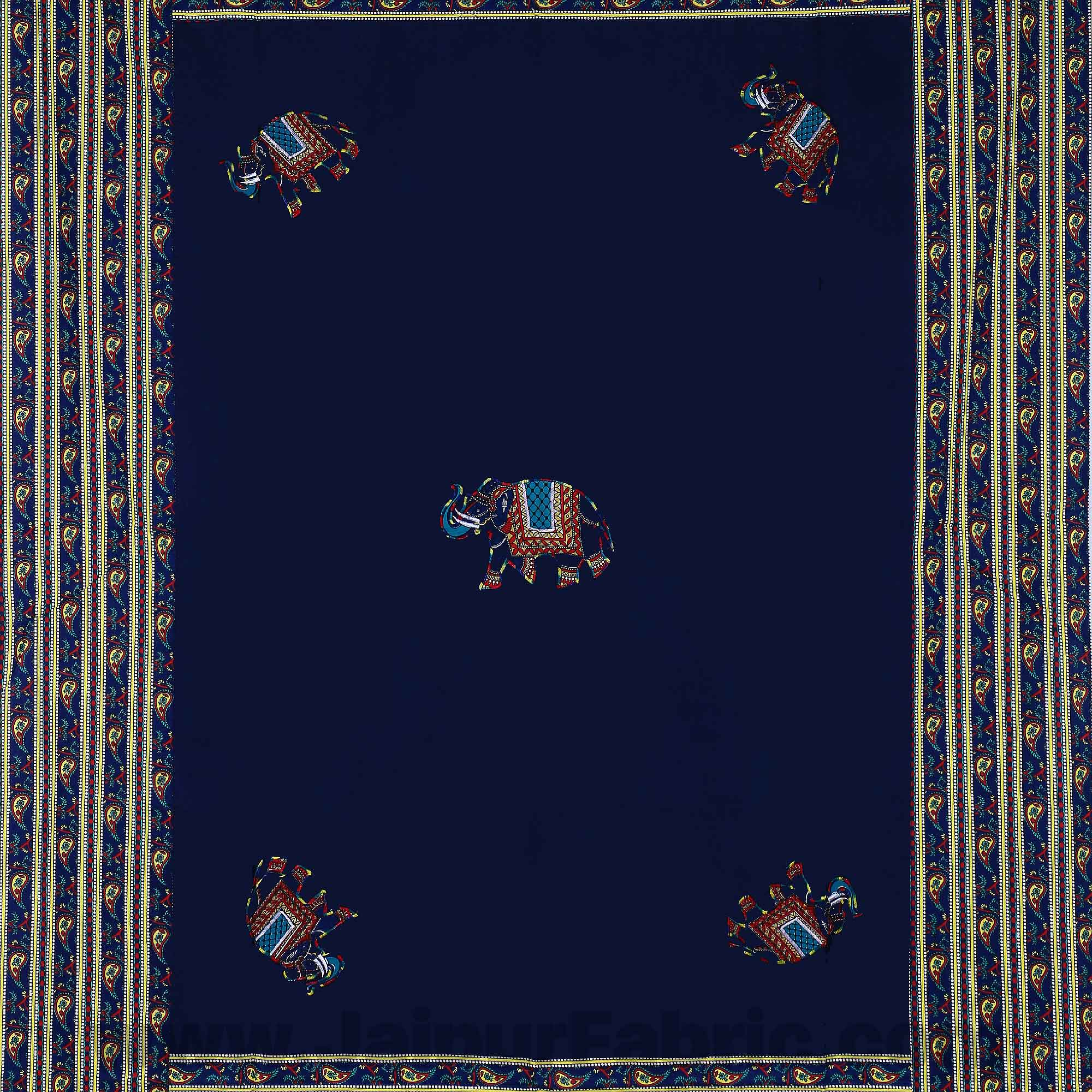 Applique Blue Elephant Jaipuri  Hand Made Embroidery Patch Work Single Bedsheet