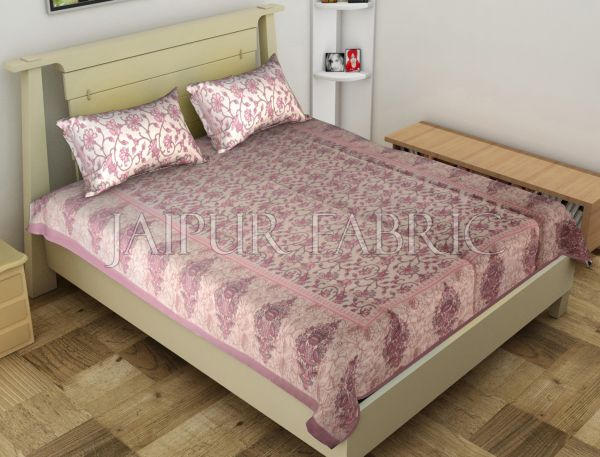 Light Purple Border Anthemion Pattern Cotton Single Bed Sheet