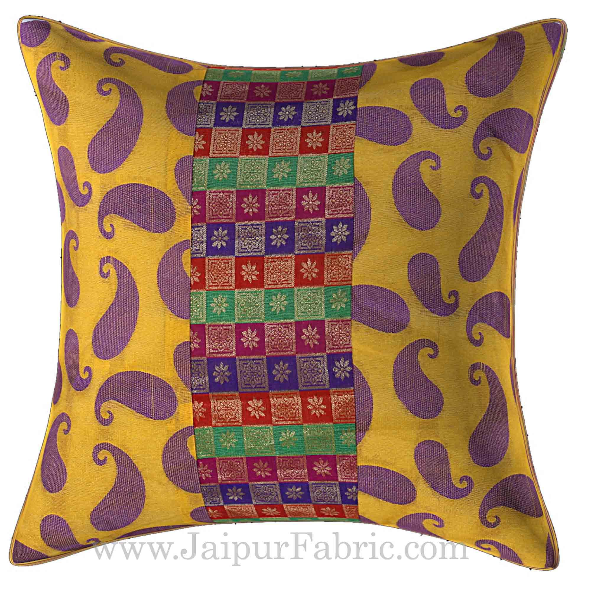 Yellow Base Small Paisley Print Cushion Cover