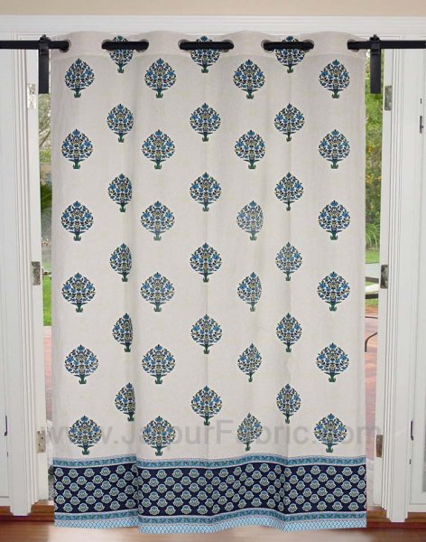 Royal Blue Floral Bouquet Cotton Grommet Curtain