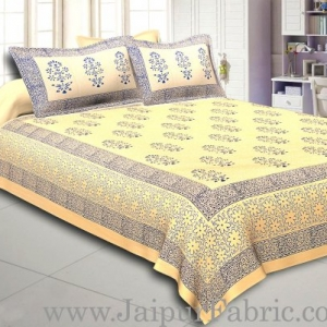 Cream Base With Kadi Print Blue Leaf Hand Block Print Super Fine  Cotton Double Bed Sheet