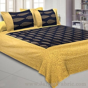 Patola BedSheet in Navy Blue Base Cream Border Gold Print Kerry Pattern Super Fine Cotton with 2 pillow covers