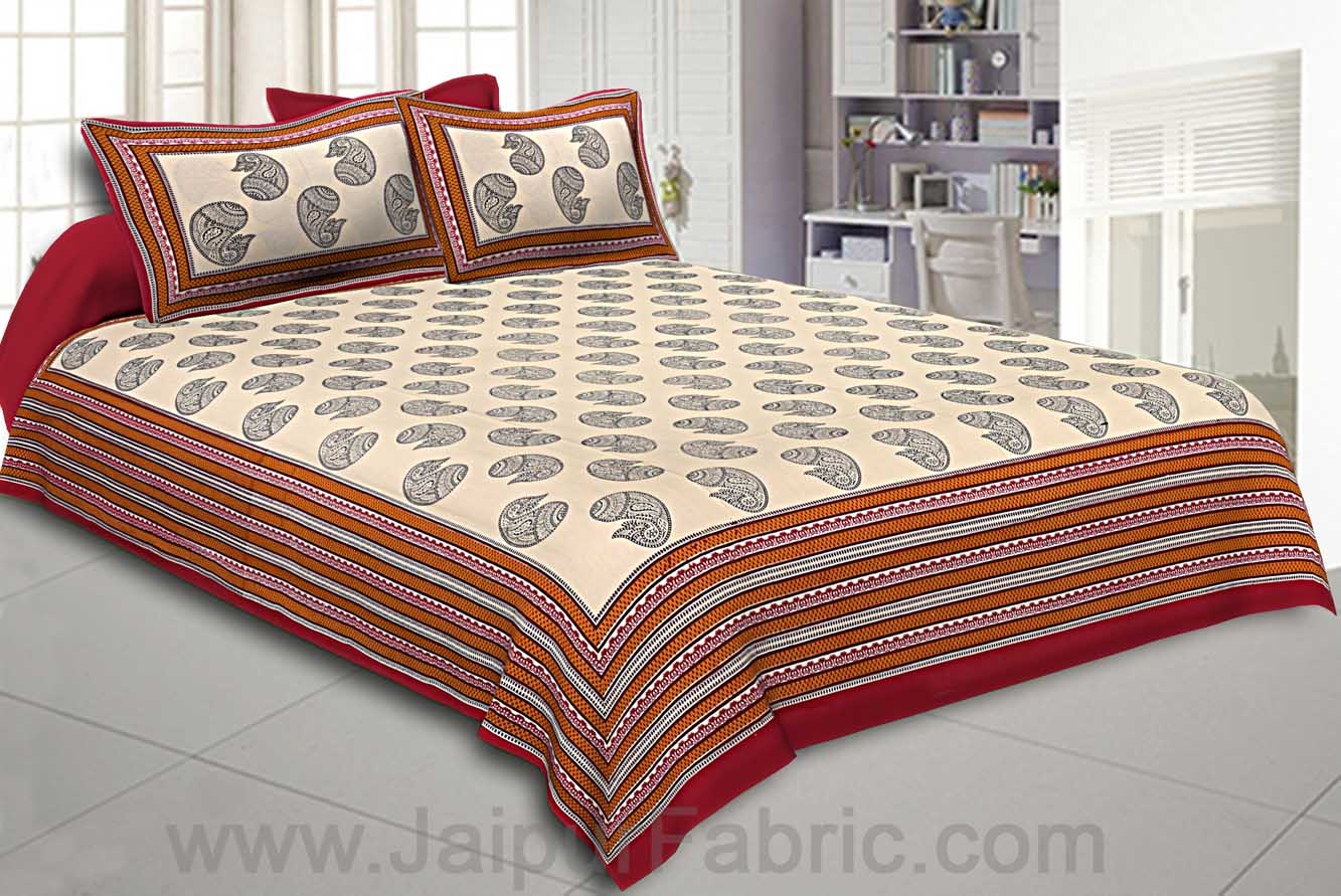 Double Bedsheet Big Boota  Print Red Border Fine Cotton