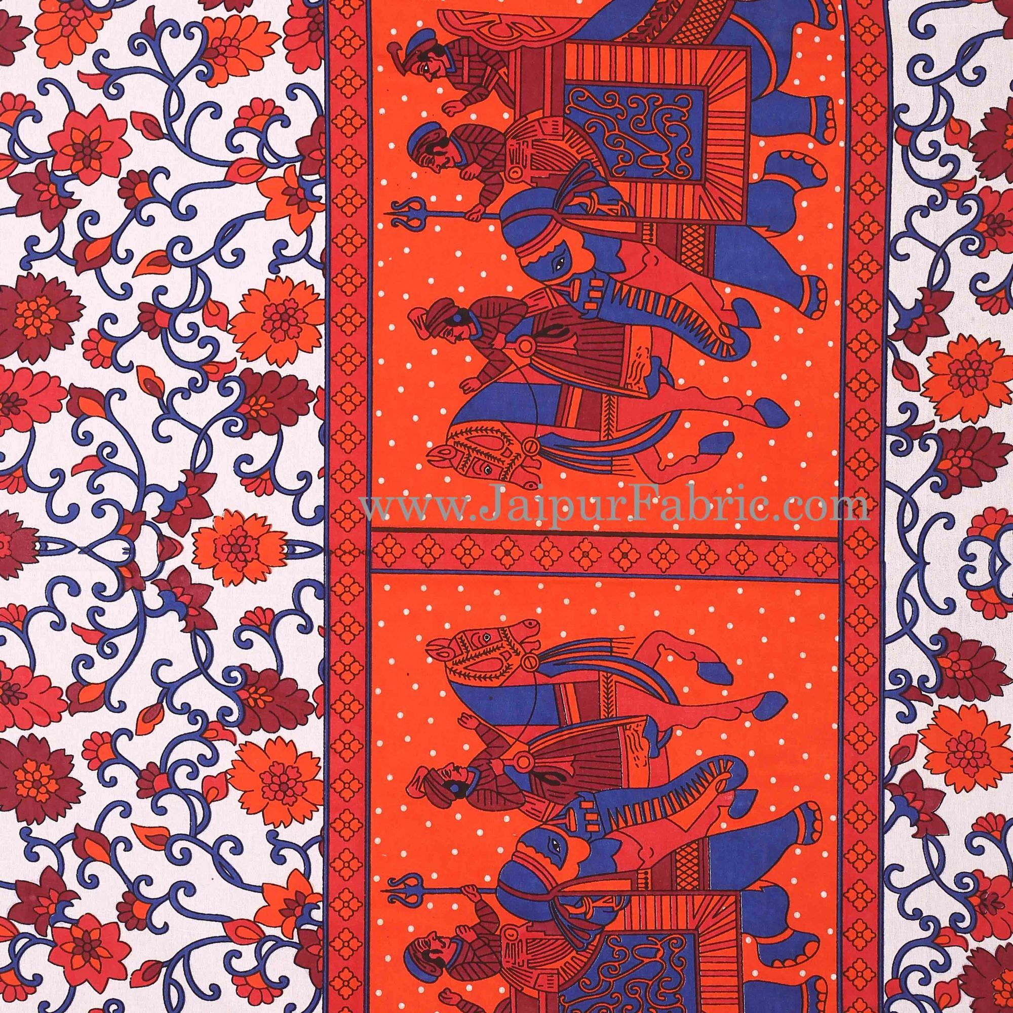 Orange Gangaur Pattern cotton Double Bed sheet