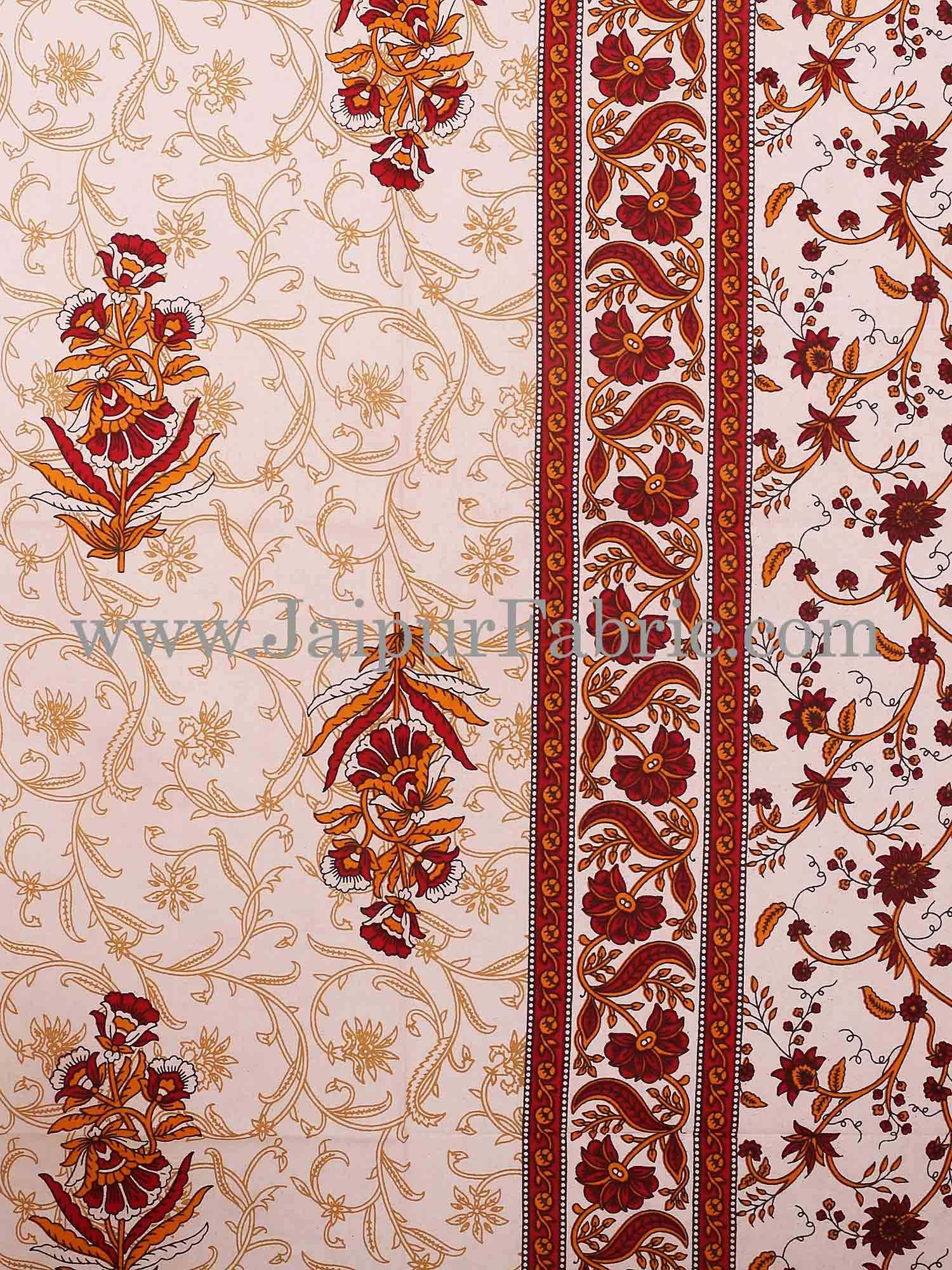 Brown Border With Cream Base With  Small Mughal Print Cotton Double Bedsheet With Pillow Cover