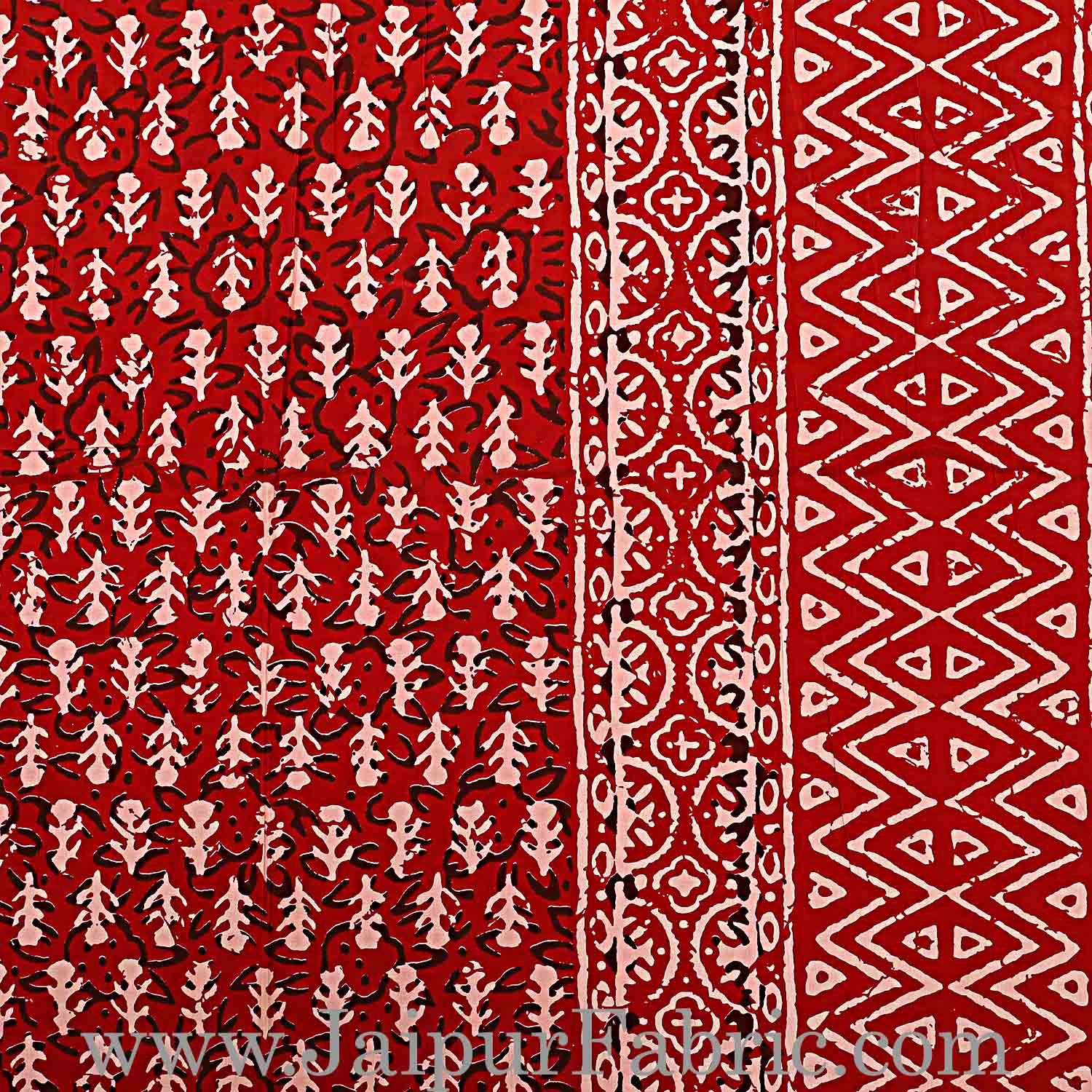 Double Bedsheet Maroon Border Small Leaf Print With Two Pillow Cover