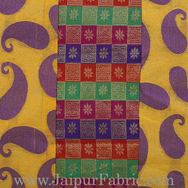 Yellow Base Small Paisley Print Cushion Cover