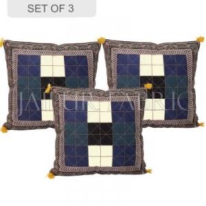 Black border Checkered Design Cotton Cushion Cover