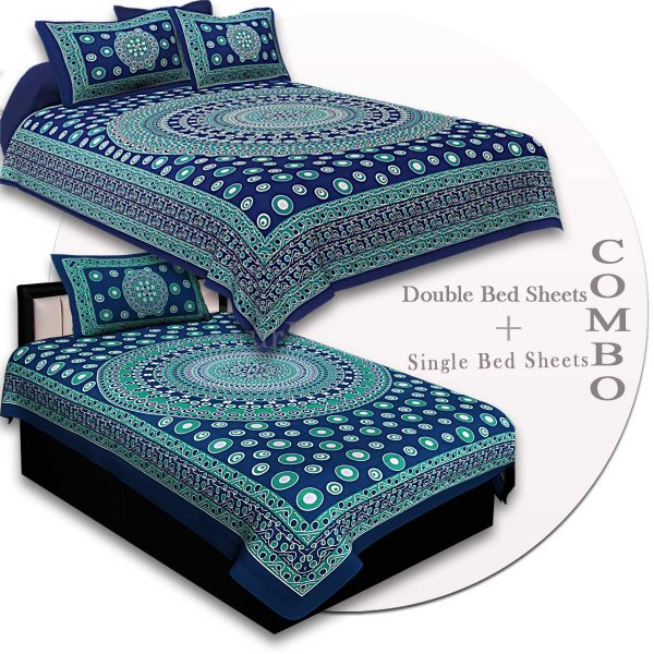 COMBO84- Set of 1 Double Bedsheet and  1 Single Bedsheet With  2+1 Pillow Cover