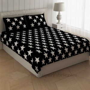 Shinning Stars On Night Black Bedsheet