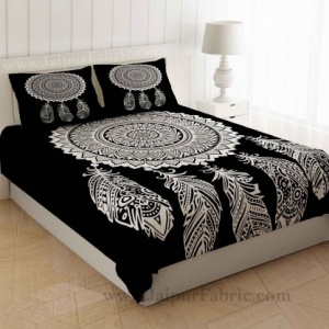 Big Feather Print Black & White Bedsheet