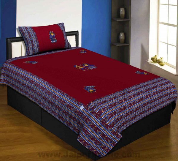 Applique Maroon Dandiya Jaipuri  Hand Made Embroidery Patch Work Single Bedsheet