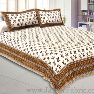 Double Bedsheet Brown Border Small Floral Print With Two Pillow Cover
