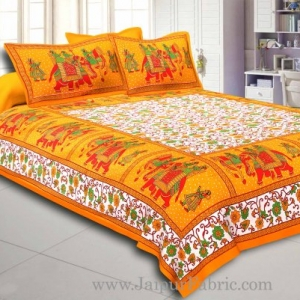 Yellow Gangaur Pattern cotton Double Bed sheet
