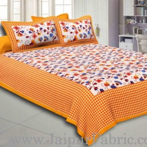 Yellow Border jaipuri design floral print Cotton Double Bedsheet with Pillow Cover