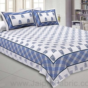 Double bedsheet White Blue Hand Block Print