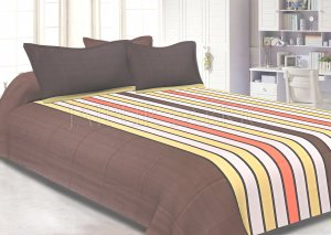 Gray Base Vertical Stripes Cotton Double Bed Sheet