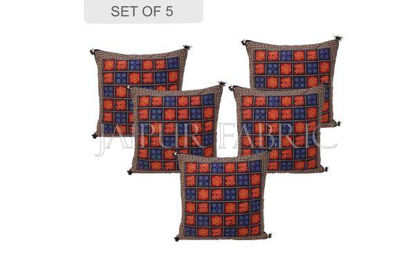 Black Border Garba Design Cotton Cushion Cover