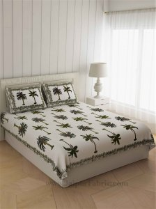 Gorgeous Glaze Cotton Green Palms Double Bedsheet