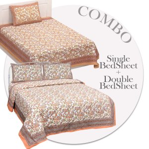 COMBO367 Beautiful Peach Ethnic Combo Set of 1 Single and 1 Double Bedsheet With 3 Pillow Cover