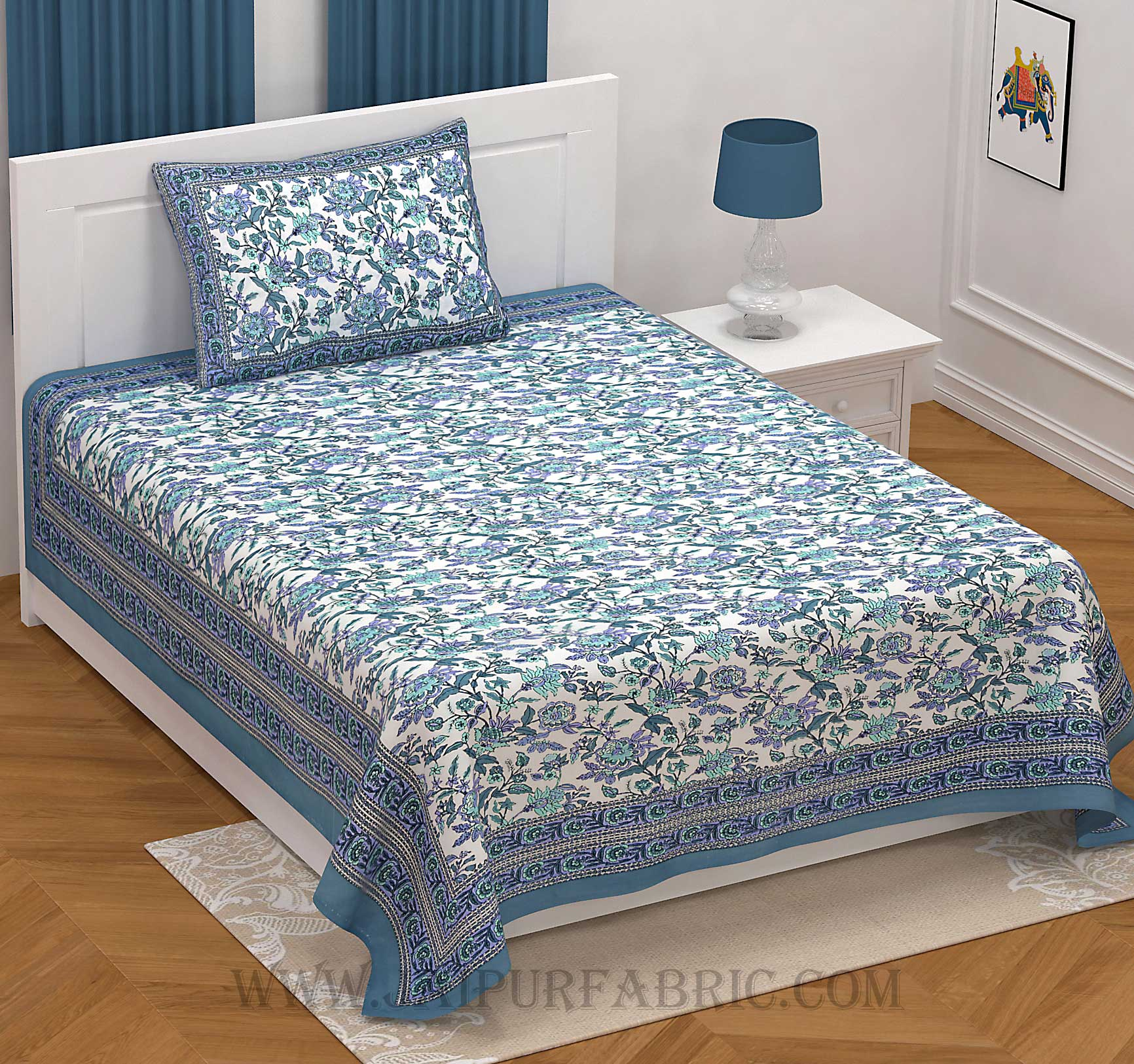 Fantastic Flowers Blue Single Bedsheet