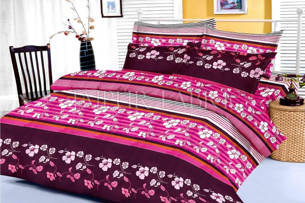 Pink and Black Slanting Stripe and Floral Print King Size Cotton Bed Sheet