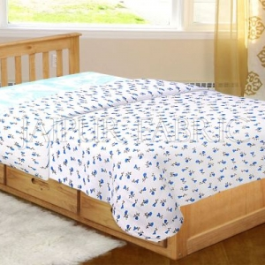 White Base Blue Floral Print Single Bed Dohar