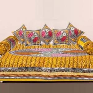 Yellow Jaipuri Tropical Print Cotton Diwan Set