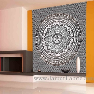Ash Black Tapestry with broad Mandala design wall hanging and beach throw