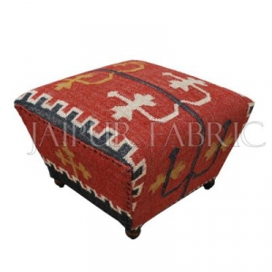 Wooden Stool Upholstered with Wool and Jute Kilim Woven