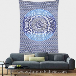 Blue shades Mandala tapestry wall hanging and beach throw