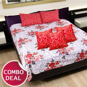 COMBO16- Set Of Double Bed Sheet and 3 Cushion Covers