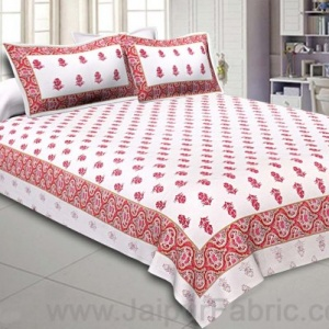 Double Bedsheet  Light Pink Small Booti Print
