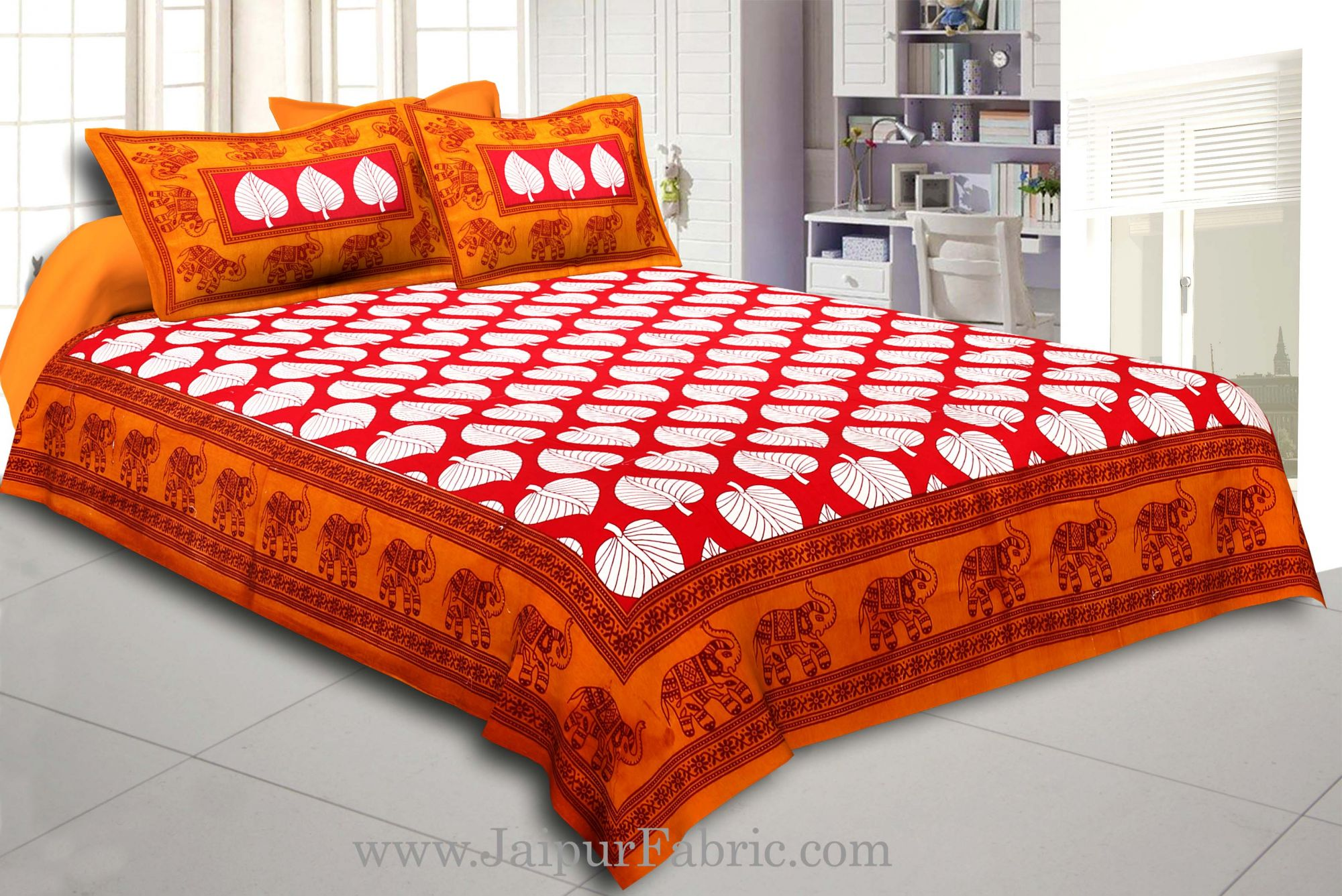 Brown Border With  Red Base Paan Pattern Cotton Double Bed Sheet
