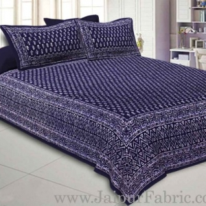 Double Bedsheet Blue Border Small Leaf Print With Two Pillow Cover