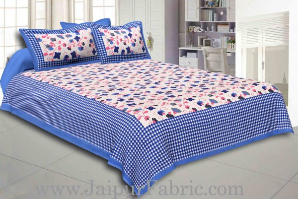 Navy Blue Border jaipuri design floral print Cotton Double Bedsheet with Pillow Cover