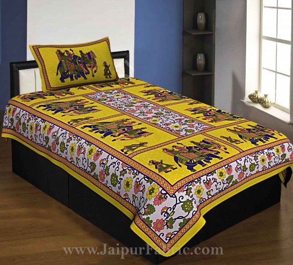 Yellow Border Big Elephant Printed Cotton Single Bed Sheet