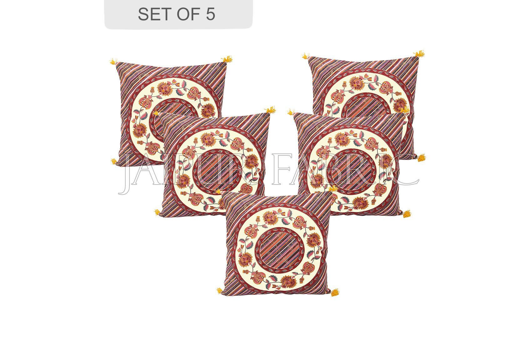 Cream Base Multi Color Jaipur Golden Print Lehriya Design Cotton Cushion Cover
